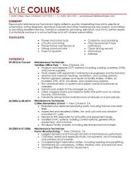 Facilities Maintenance Technician Resume Sample Maintenance Resume Sample Design Example Template Building 2