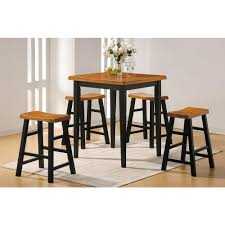 5 Piece Bar Table Set Acme Gaucho 5 Piece Oak And Black Bar Table Set 07285 The Home Depot