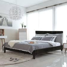 Upholstered platform bed frame Elegant Upholstered Platform Bed Queen Panel Bed Frame Faux Leather Heavy Duty Metal Bed Macys Factory Direct Upholstered Platform Bed Queen Panel Bed Frame Faux