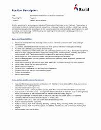 Journeyman Electrician Resume Lovely Industrial Electrician Resume