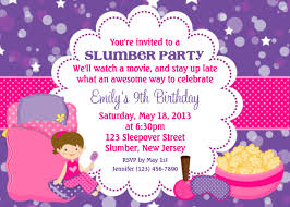 part invites printable birthday invitations girls sleepover party momecard