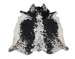 spotted black and white cowhide rug 35 sq ft large genuine cow skin real leather