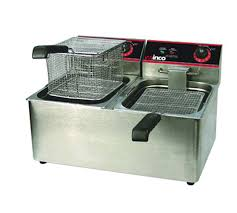 32 lb electric countertop double well deep fryer
