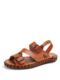 men s leather sandals comfy all match breathable handmade open toe sandals share