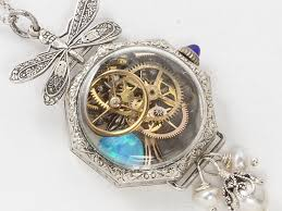 14k white gold filled watch case necklace with gears hummingbird opal blue sapphire pearl silver dragonfly pendant locket
