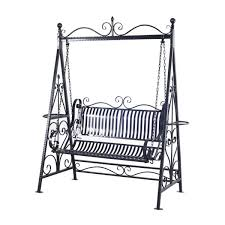 outsunny 2 seater metal outdoor garden porch double swing chair with stand