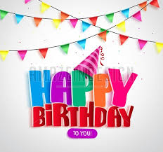 Happy Birthday Vector Banner Design With Colorful Text Written And Streamers
