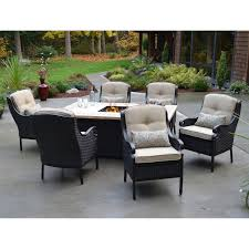 estrada all weather wicker fire dining set fire pit patio furniture sets with fire pit