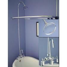 image of rim mount gooseneck clawfoot tub shower kit
