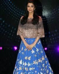 Manish Malhotra Designer Long Skirts Aishwarya Rai Bachchan In A Crop Top And Blue Skirt By