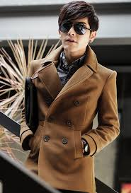 brown successful luxury mens pea coat