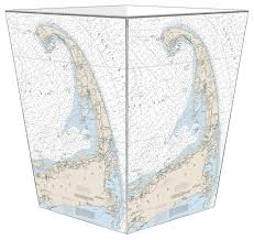 Cape Cod Nautical Chart Wastepaper Basket