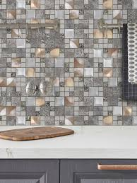 The diy backsplash kit comes with 15 sheets of peel and stick glass mosaic tiles, a set of tools, and the installation manual. Glass Metal Gray Copper Mosaic Backsplash Tile Backsplash Com
