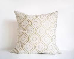 Ivory And Gold Pillow Metallic Gold Print On Cream Silk