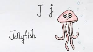 jellyfish drawing for kids. Interesting Drawing J For Jellyfish  How To Draw Using Alphabets Fun With Drawing  Kids Throughout For Kids A
