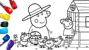 Find more peppa pig family coloring page pictures from our. Peppa Pig Granny Pig S Chickens Peppa Pig Coloring Pages 1080p Youtube
