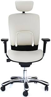 white leather executive chair. GM Seating Ergolux Genuine Leather Executive Hi Swivel Chair Chrome Base With Headrest, White