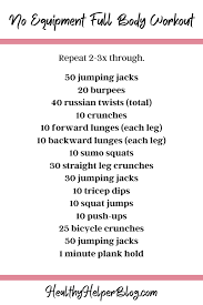 at home workouts from healthy helper