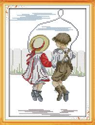 Joy Sunday Figure Style Rope Skipping Innocence Cross Stitch