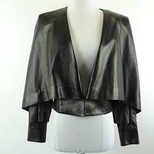 kim kardashian west balmain black cropped open front leather jacket size 40