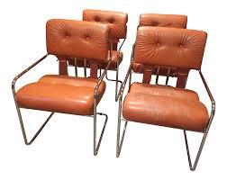 Burnt Orange Tucroma Leather and Chrome Dining Chairs in Mid Century Italian  Design - Set of 4 | Chairish