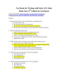 Download Test Bank For Writing With Style Apa Style Made Easy 6th