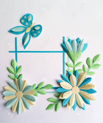 Color Paper Flower Design Square Frame With Blue Color Paper Flowers And Butterfly Nature