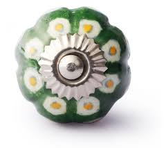 Yellow And White Dots On Green Base Melon Knobs Knobco