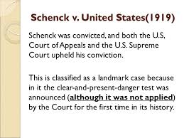history of the first amendment in the xxth century ppt  10 schenck v