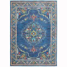 archer lane imperial blue indoor oriental area rug common 5 x 8 actual