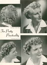 1943 short hair tightly curled and pushed from the back to create a frame around