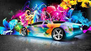 Wallpaper Neon Rainbow Lamborghini