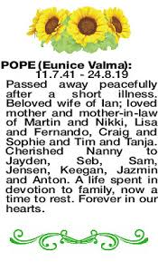 POPE Eunice   Obituaries   The West Announcements