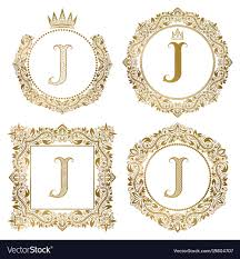 Golden Letter J Vintage Monograms Set Heraldic