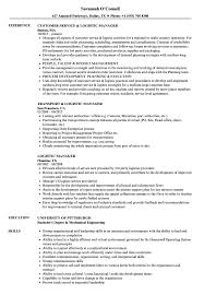 Logistic Manager Resume Samples Velvet Jobs