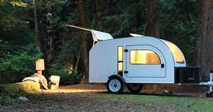 Diy travel trailer Campers Big Doors Windows Make This Allseason Teardrop Trailer Feel Open Treehugger Campandacom Big Doors Windows Make This Allseason Teardrop Trailer Feel Open