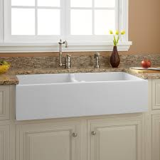 36 Risinger 6040 Offset Bowl Fireclay Farmhouse Sink Smooth