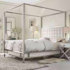 for some reason, I really like this idea for our master. def have the space  to do it //INSPIRE Q Solivita Canopy Button Tufted Metal Poster Bed