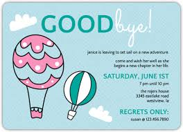 Hot Air Balloons Farewell Party Invite