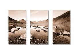 wast water 2 sepia triptych on sepia canvas wall art with lake district canvas prints canvas art of wast water cumbria