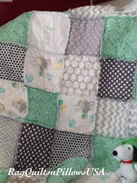 Dumbo Embroidered Baby Blanket - Mint Green Grey Baby Rag Quilt ... & Dumbo Embroidered Baby Blanket - Mint Green Grey Baby Rag Quilt - Homemade  Baby Boy Quilt Adamdwight.com