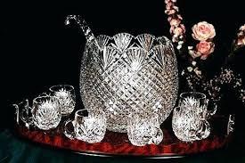 glass punch bowl set antique bowls for vintage cut sterling silver miniature carnival