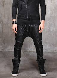 1000+ images about Mens joggers on Pinterest   Leather, Harem ... & Biker Drop Crotch Dark Quilted Faux Leather Harem Pants by Ofelpan, $154.00 Adamdwight.com