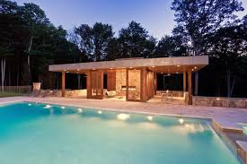 Modern cabanas design pool modern with pool furniture trees glass doors
