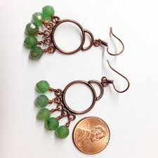 aventurine copper chandelier earrings