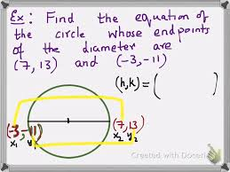 circle equation given end points of diameter
