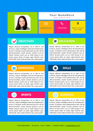 Colorful Resume Template for Kids ...