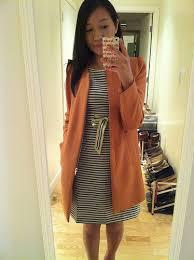 loft outlet dresses. loft striped dress (sz 00p) and zara coat with gathering on the shoulder ( loft outlet dresses