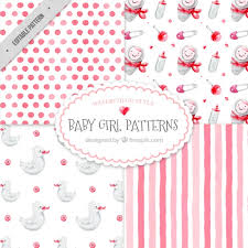 Baby Patterns Mesmerizing Set Of Pretty Watercolor Baby Patterns Vector Free Download