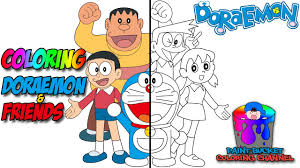 That doraemon's original paint colour is yellow? How To Color Doraemon Coloring Pages Doraemon Coloring Book For Kids To Learn Colors Youtube